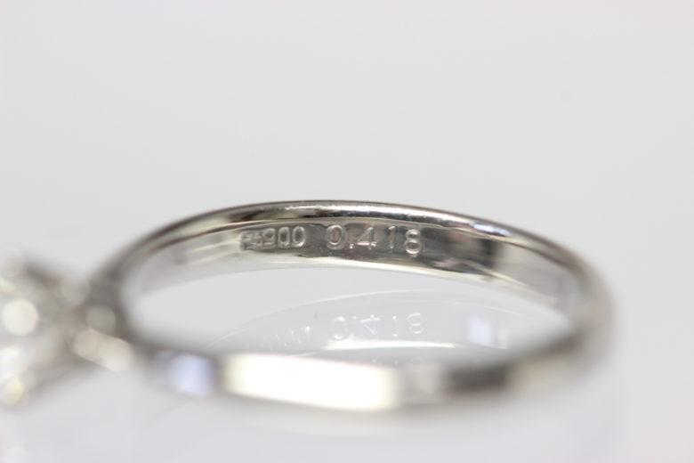 ダイヤリング 0.418 刻印